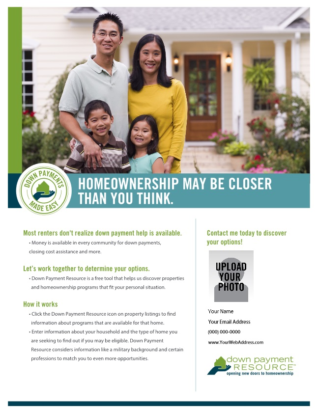 New Realtor Marketing Materials Highlight Down Payment